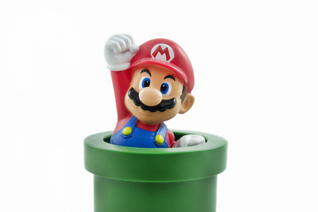 nintendo: Istanbul,Turkey - January 12,2015: Isolated studio shot of Mario from Nintendos Super Mario Bros. franchise of video games.