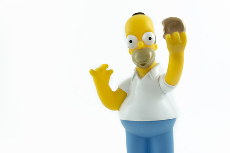 homer: Istanbul,Turkey - January 12,2015: Action figure of Homer Simpson from tv series The Simpsons, isolated on white background.