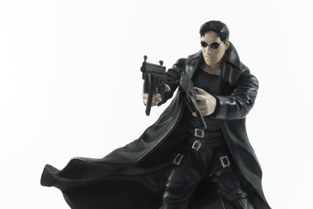 Istanbul,Turkey - January 12,2015: Action figure of Neo (Keanu Reeves) from movie The Matrix, isolated on white background.