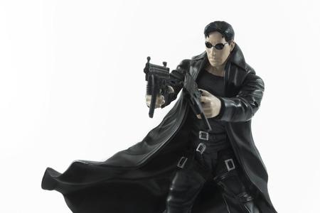 Istanbul, Turquie - Janvier 12,2015: Figurine de Neo (Keanu Reeves) du film The Matrix, isolé sur fond blanc.