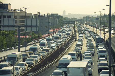 Heavy Traffic Jam At Mecidiyekoy Istanbul Turkey 에디토리얼