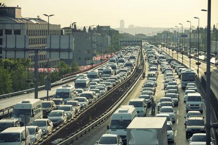 Heavy Traffic Jam At Mecidiyekoy Istanbul Turkey Editorial
