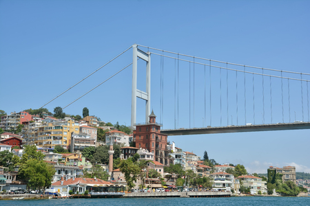 hisari: Fatih Sultan Mehmet Bridge And The Coastline Of Rumeli Hisari Istanbul Turkey