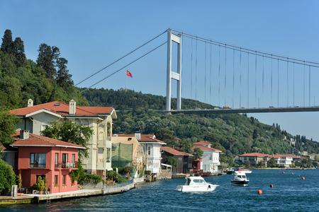 fatih: Fatih Sultan Mehmet Bridge and the coastline of Kanlica Istanbul Turkey