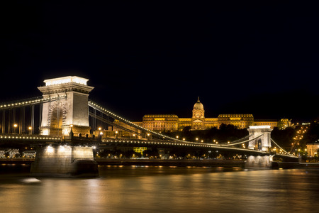 cast in place: Chain Bridge And Buda Castle, Budapest, Hungary Editorial