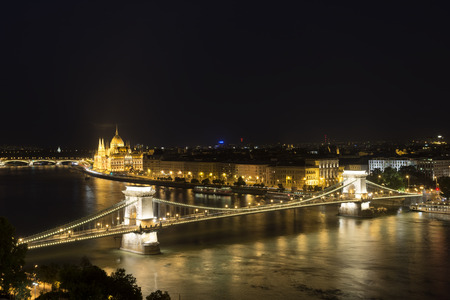 Budapest At Night, Hungary Stock Photo