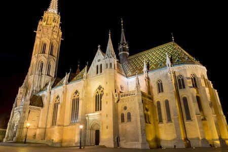 matthias church: Matthias Church At Night, Budapest, Hungary Stock Photo