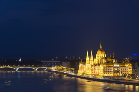 parliament building: Hungarian Parliament Building And Danube River, Budapest, Hungary
