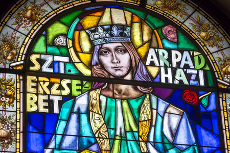 saint stephen cathedral: Stained Glass Portrait of Saint Elizabeth, Budapest, Hungary