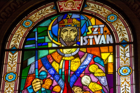 Stained Glass Portrait of Saint Stephen, Budapest, Hungary Editorial