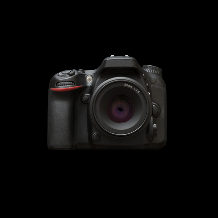 dslr camera: Dslr Camera Isolated On Black Background