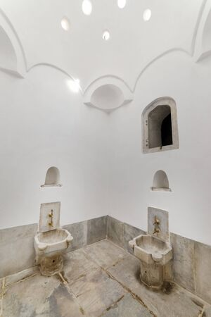 Faucets And Washbasins Inside Hamam at Harem Section of Topkapi Palace, Istanbul, Turkey