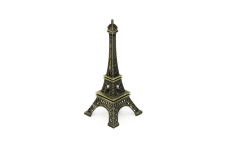 maquette: Scale Model Of Eiffel Tower Isolated On White Background Stock Photo