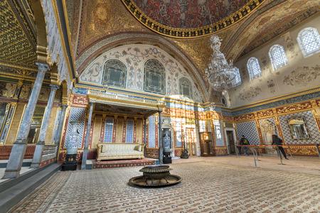 trono: Salón del Trono En el interior del palacio de Topkapi Sección Harem, Estambul, Turquía