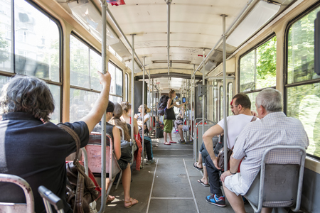 people travelling: People travelling with the bus, the public city transport in Belgrade, Serbia Editorial