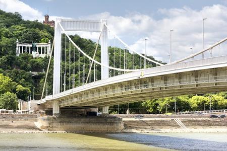 hungary: Erszebet Bridge, Budapest, Hungary Stock Photo