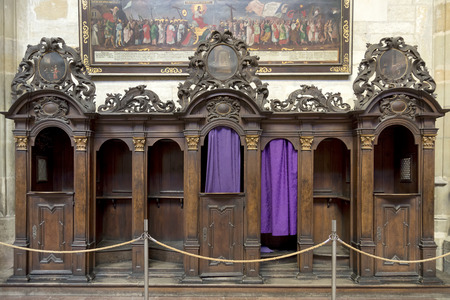 vitus: Traditional confessional inside St. Vitus Cathedral,Prague, Czech Republic.