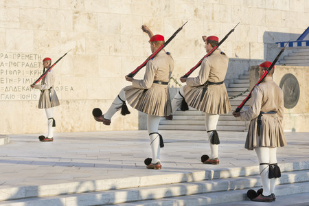 Evzones Changing Guarding Positions, Athens, Greece
