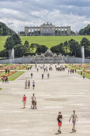 gloriette: People walking at the gardens of Schonbrunn Palace, Vienna, Austria