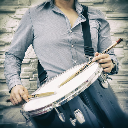 snare drum: Young Guy Playing Snare Drum