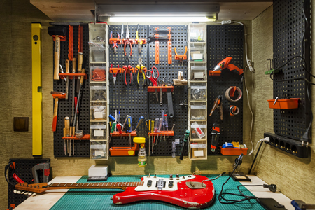 Luthiers Workbench Stock Photo