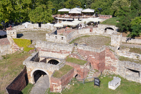 southeastern: Rear view of Zindan Gate of Belgrade Fortress, the middle southeastern gate, between two round towers, Serbia Editorial