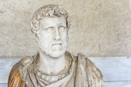 pius: Bust of the Roman emperor Antoninus Pius Inside Stoa Of Attalos, Athens, Greece