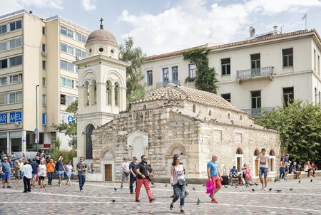 Exterior shot of The Church of the Pantanassa,the 10th-century katholikon of a now-vanished monastery in Monastiraki Square, between Athinas and Mitropoleos streets. Редакционное