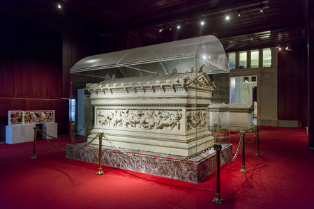 almost all: Detail of Alexander Sarcophagus at Istanbul Archaeology Museum which houses over one million objects represent almost all of the eras in world history. Istanbul, Turkey