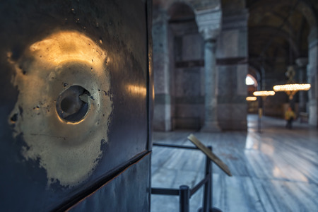 he said: Close up shot of he perspiring column, said to be damp when touched and have supernatural powers inside Hagia Sophia, Istanbul, Turkey.