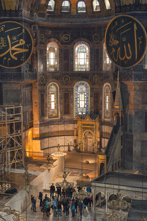 patriarchal: Interior detail from Hagia Sophia, a Greek Orthodox Christian patriarchal basilica, later an imperial mosque, and now a museum in Istanbul, Turkey.
