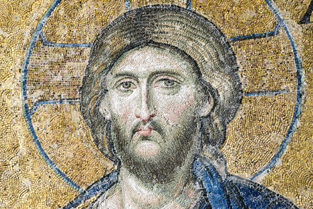Face detail of Christ Pantocrator from the Deesis Mosaic inside Hagia Sophia, Istanbul, Turkey.