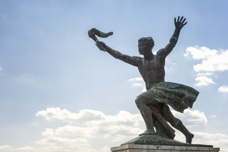 The Liberty Statue or Freedom Statue on the Gellert Hill in Budapest, Hungary. It commemorates those who sacrificed their lives for the independence of Hungary. Hungary, Budapest Stock Photo