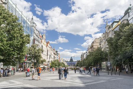 People walking at Vaclavske Namesti (Wenceslas Square), one of the main city squares and the centre of the business and cultural communities in Prague. Editorial