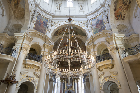Interior detail from St. Nicholas Church, a baroque church in the Lesser Town of Prague, Czech Republic.
