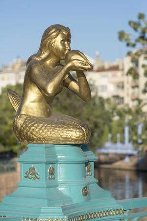 Mermaid statue playing ocarina at the city centre of Eskisehir, famous modern Anatolian city of Turkey. Eskisehir, Turkey