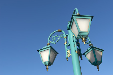 Street Lamp With Blue Sky Background