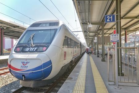 High speed train (YHT) waiting at Pendik Train Station, it works between Ankara and Istanbul. Banco de Imagens - 82849972