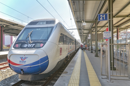High speed train (YHT) waiting at Pendik Train Station, it works between Ankara and Istanbul.