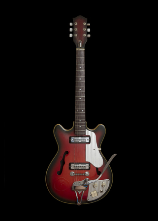 Vintage Electric Guitar Isolated On Black Background Stock Photo