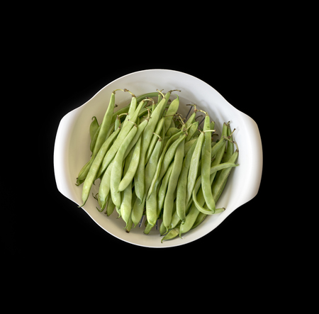 Green Beans Inside The Bowl Isolated On Black Background Stok Fotoğraf - 85167056