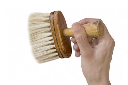 Hand Using Barber Brush Isolated On White Background