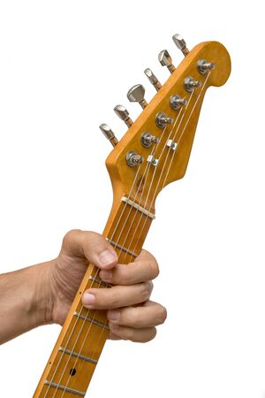 Playing Electric Guitar, Isolated On White Background