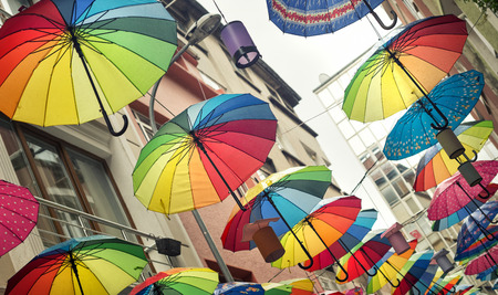 Street Decorated With Rainbow Colored Umbrellas, Istanbul, Turkey Note to editor:Indexing language:UK - English