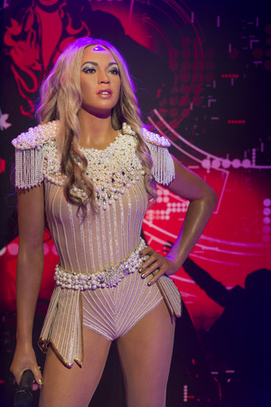 Wax sculpture of Beyonce, famous American singer, songwriter, dancer, and actress at Madame Tussauds Istanbul.