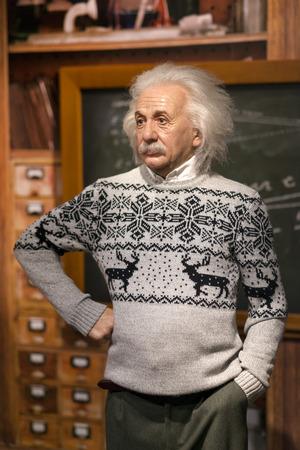 Wasbeeldhouwwerk van Albert Einstein bij Mevrouw Tussauds Istanbul. Einstein was een in Duitsland geboren theoretische fysicus die de relativiteitstheorie ontwikkelde.