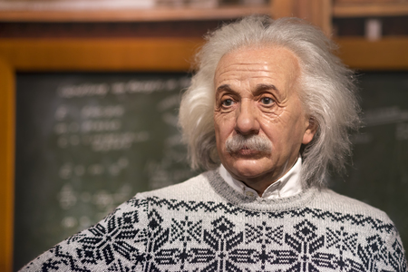 Wax sculpture of Albert Einstein at Madame Tussauds Istanbul. Einstein was a German-born theoretical physicist who developed the theory of relativity.