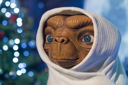 Wax sculpture of the alien being from E.T. the Extra-Terrestrial movie directed by Steven Spielberg at Madame Tussauds Wax Museum Istanbul.