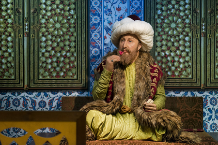 Wax sculpture of Fatih Sultan Mehmet at Madame Tussauds Istanbul. Fatih Sultan Mehmet is a famous Ottoman sultan who conquered Constantinople. Editorial