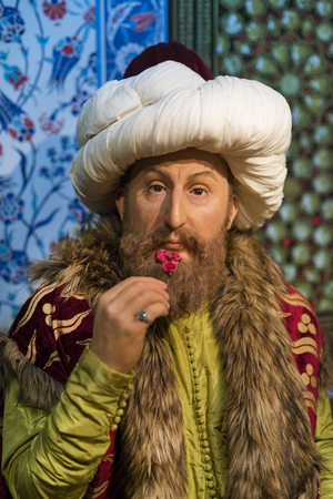 Wax sculpture of Fatih Sultan Mehmet at Madame Tussauds Istanbul. Fatih Sultan Mehmet is a famous Ottoman sultan who conquered Constantinople. Redakční